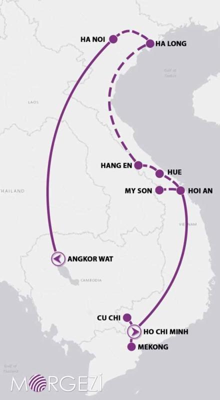 Harita Vİetnam Kamboçya